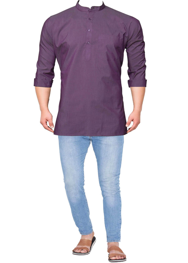 Men's Cotton Blend Plain Short Kurta Full Sleeves/Half Sleeves - Lavender (KUR-861) - Theshirtfactory