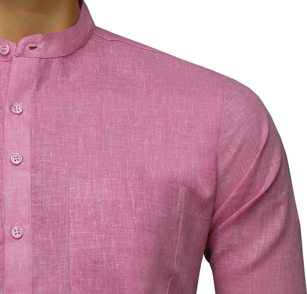 Men's Cotton Blend Plain Short Kurta Full Sleeves/Half Sleeves - Pink (KUR-856) - Theshirtfactory