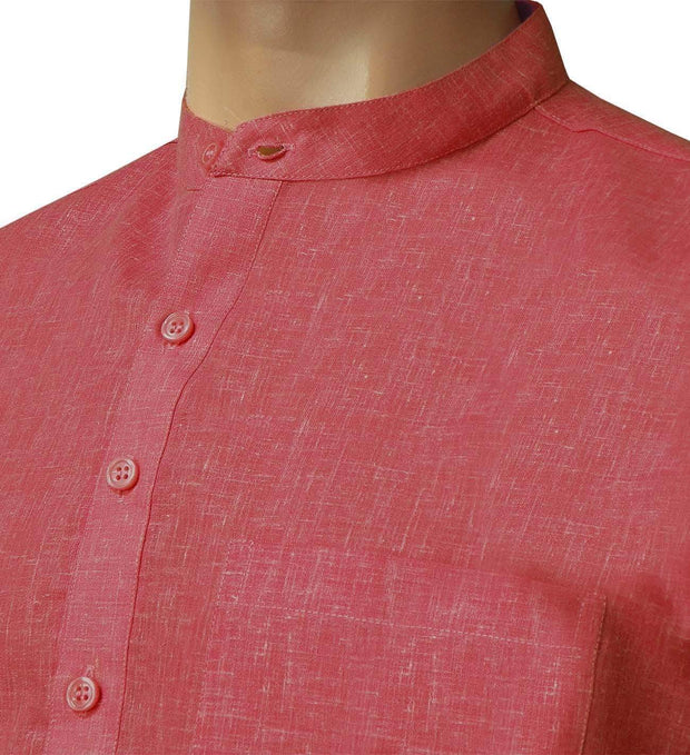 Men's Cotton Blend Plain Short Kurta Full Sleeves/Half Sleeves - Red (KUR-854) - Theshirtfactory