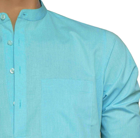 Men's Cotton Blend Plain Short Kurta Full Sleeves/Half Sleeves - Sky Blue (KUR-865) - Theshirtfactory