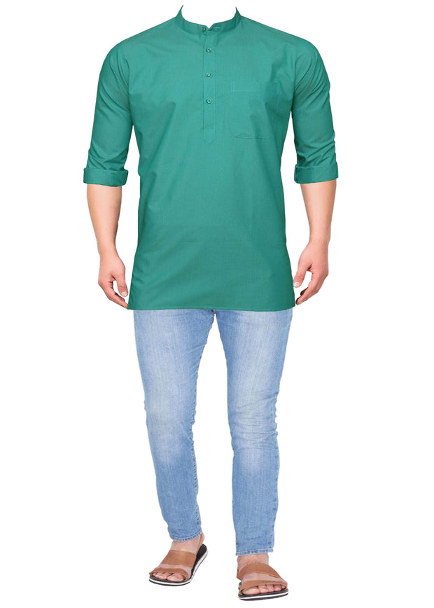 Men's Cotton Blend Plain Short Kurta Full Sleeves/Half Sleeves - Teal Blue (KUR-862) - Theshirtfactory