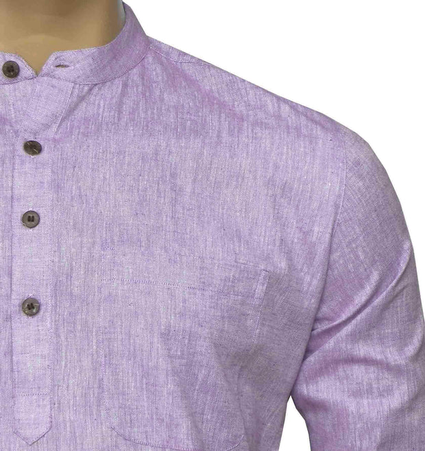 Men's Pure Cotton Plain Long Kurta - Light lavender (KUR-848) - Theshirtfactory