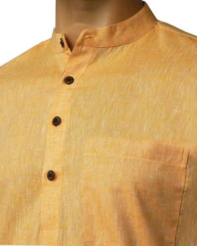 Men's Pure Cotton Plain Long Kurta - Light Orange (KUR-847) - Theshirtfactory