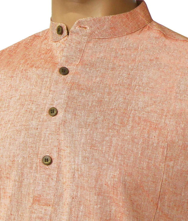 Men's Pure Cotton Plain Long Kurta - Light Orange (KUR-849) - Theshirtfactory