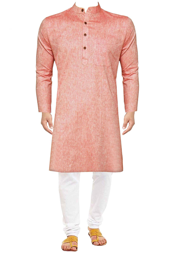 Men's Pure Cotton Plain Long Kurta - Light Red (KUR-845) - Theshirtfactory