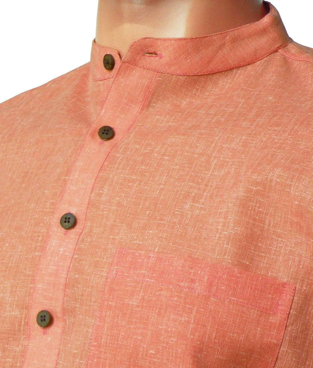 Men's Pure Cotton Plain Long Kurta - Orange (KUR-852) - Theshirtfactory