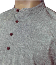 Men's Pure Cotton Plain Long Kurta - Smoke Grey (KUR-844) - Theshirtfactory