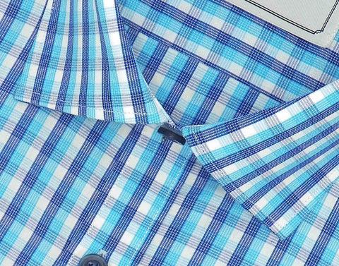 Men's 100% Cotton Check Shirt - Blue (0886) - Theshirtfactory
