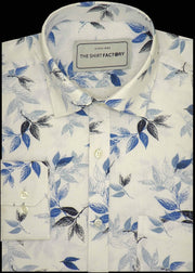 Men's 100% Cotton Printed Shirt - White (0358) - Theshirtfactory