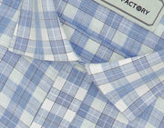 Men's Cotton Blend Check Full Half Sleeves Shirt - Light Blue (0825) - Theshirtfactory