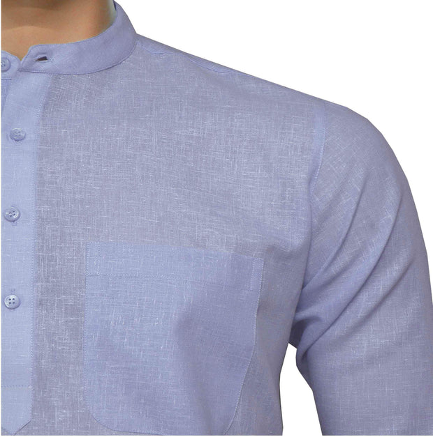 Men's Cotton Blend Plain Short Kurta Full Sleeves/Half Sleeves - Light Stone Blue (KUR-857) - Theshirtfactory