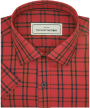 Men's Cotton Twill Check Shirt - Red (0941)