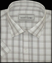 Men's Cotton Check Shirt - White (0932) - Theshirtfactory