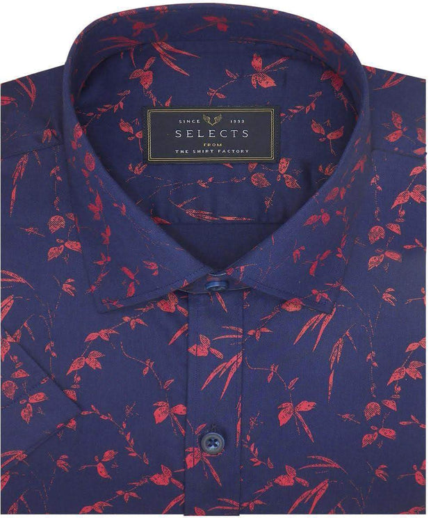 Selects Cotton Dobby Printed Shirt Blue (0962) - Theshirtfactory