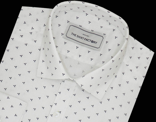 Men's Cotton Dobby Printed Shirt White (0949) - Theshirtfactory