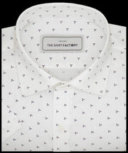 Men's Cotton Dobby Printed Shirt for Men White (0949) - Theshirtfactory