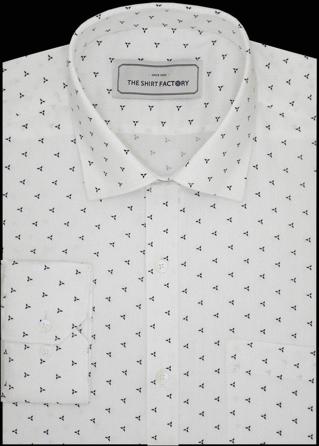 Men's Cotton Dobby Printed Shirt for Men White (0949)