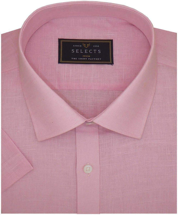 Selects Pure Linen Plain Shirt - Pink (0585)