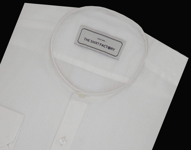 Men's Cotton Plain Shirt with Mandarin Chinese Collar for Men White (0536-MAN) - Theshirtfactory