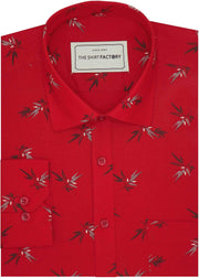 Men's Cotton Printed Shirt for Men Red (0980) - Theshirtfactory