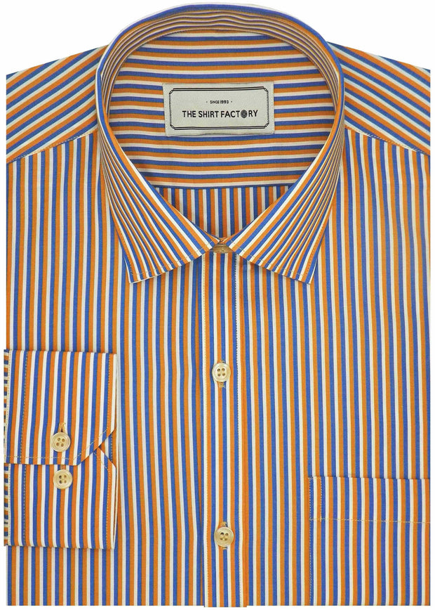 Men's Poly Cotton Stripes Shirt - Multicolor (0999) - TheshirtfactoryCheck Casual