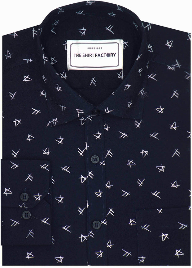 Men's Premium Cotton Printed Shirt Deep Navy (1026) - Theshirtfactory