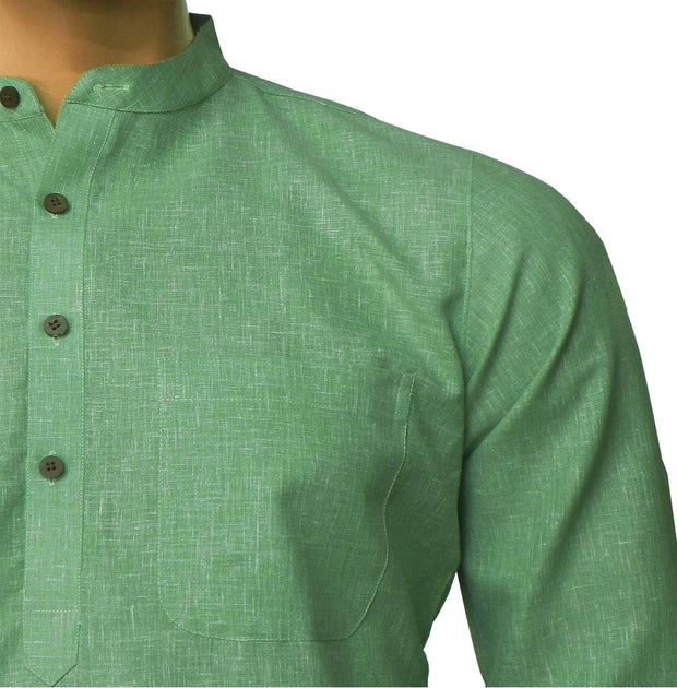 Men's Pure Cotton Plain Long Kurta - Green (KUR-859) - Theshirtfactory