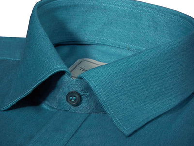 Cotton Blend Plain Shirt Cyan (0760) - Theshirtfactory