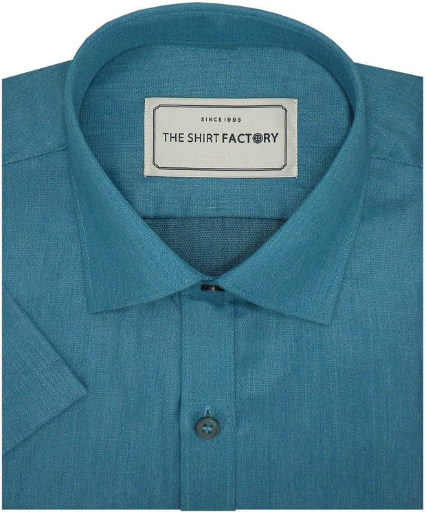 Cotton Blend Plain Shirt for Men Cyan (0760) - Theshirtfactory