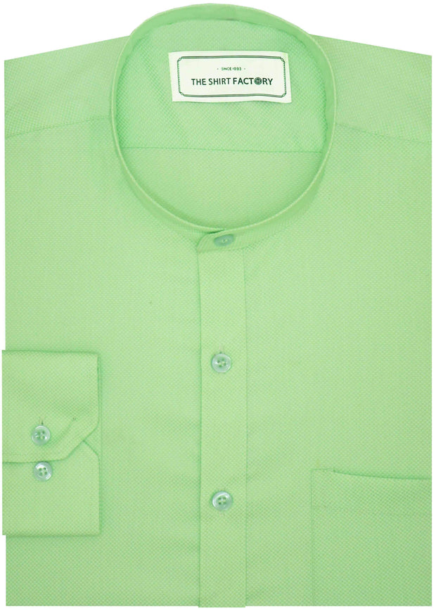 Cotton Plain Dobby Shirt with Mandarin Chinese Collar for Men Green (0793-MAN) - Theshirtfactory