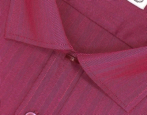 Men's Cotton Blend Plain Herringbone Shirt - Carmine Maroon (0818) - Theshirtfactory