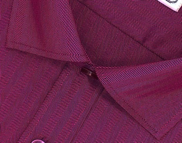 Men's Cotton Blend Plain Herringbone Shirt - Rosewood Maroon  (0816) - Theshirtfactory