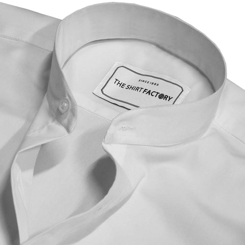 Men's Cotton Blend Plain Shirt with Mandarin Collar - Solid White (0018-MAN) - Theshirtfactory