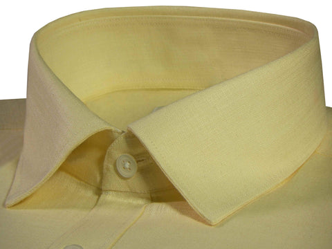 Men's Cotton Linen Blend Plain Shirt - Yellow(0907) - Theshirtfactory