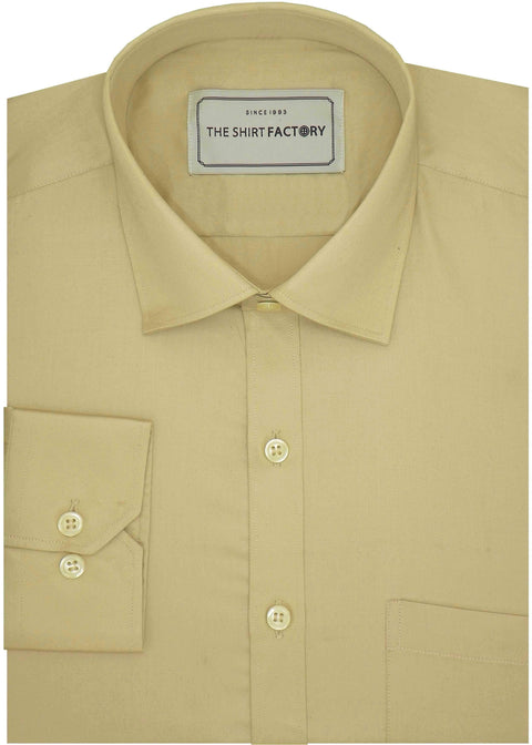 Men's Giza Satin Cotton Plain Shirt - Beige (0898) - Theshirtfactory