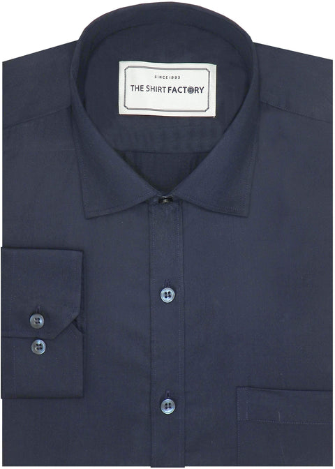 Men's Giza Satin Cotton Plain Shirt - Navy (0899) - Theshirtfactory