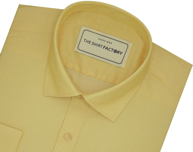 Men's Poly Cotton Dobby Plain Shirt - Beige (0987)