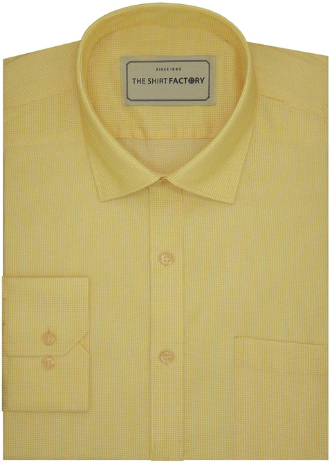 Men's Poly Cotton Dobby Plain Shirt - Yellow (0987) - TheshirtfactoryPlain Formal