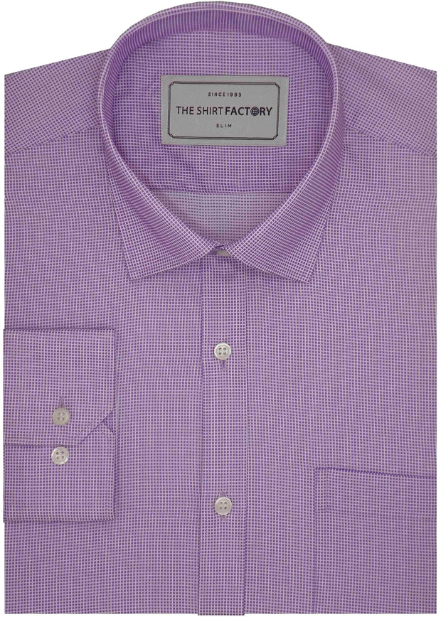 Men's Poly Cotton Dobby Plain Shirt - Lavender (0989)