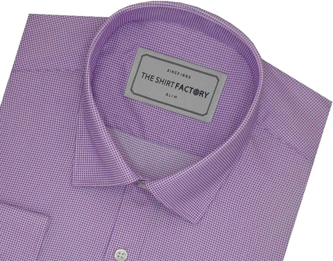 Men's Poly Cotton Dobby Plain Shirt - Lavender (0989) - Theshirtfactory