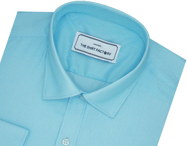 Men's Poly Cotton Dobby Plain Shirt - Sky Blue (0986) - Theshirtfactory