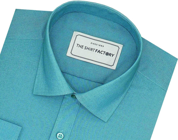 Men's Poly Cotton Plain Shirt Blue (0862) - Theshirtfactory
