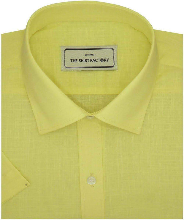 Men's Poly Cotton Plain Shirt Yellow (1003) - Theshirtfactory