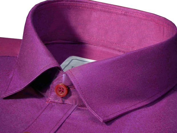 Men's Poly Cotton Plain Shirt Deep Ruby (0774)