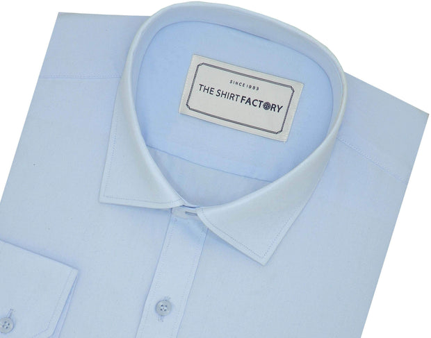 Men's Poly Cotton Plain Shirt - Sky Blue (0892)