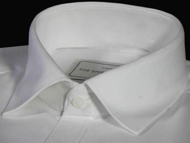 Men's Premium Cotton Dobby Plain Shirt - White (0904) - Theshirtfactory