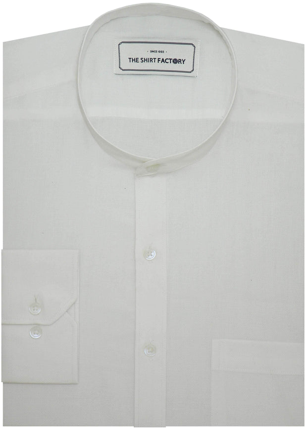 Men's 100% Cotton Plain Dobby Shirt with Mandarin Collar - White (0664-MAN) - Theshirtfactory