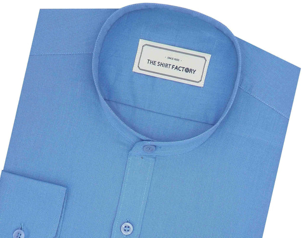 Men's Cotton Blend Plain Shirt with Mandarin Collar - Royal Blue (0011-MAN) - Theshirtfactory