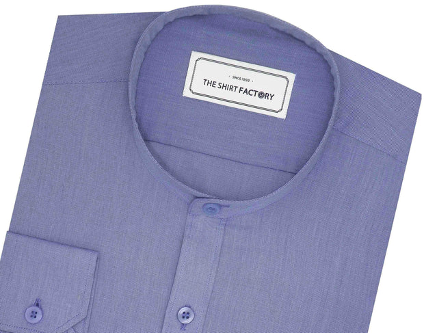 Men's Cotton Blend Plain Shirt with Mandarin Collar - Sky Blue (0863-MAN) - Theshirtfactory