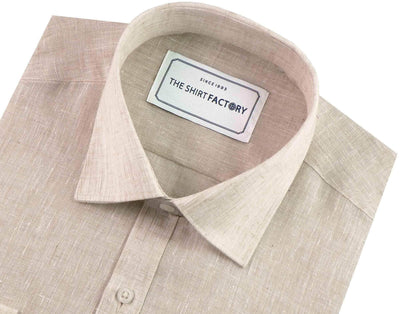 Men's Cotton Blend Plain Shirt - Beige (0523) - Theshirtfactory